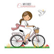 Card my first communion. Little girl on a bicycle