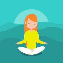 Meditation.Calm Character Sitt...