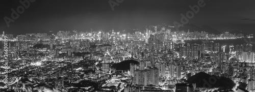 Panorama of aerial view of Hong Kong city at night