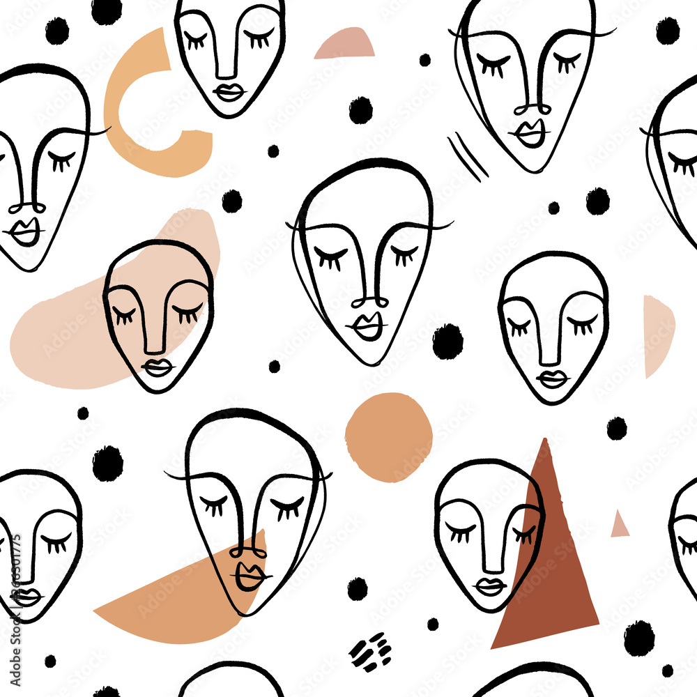 Modern seamless pattern with abstract shapes. Vector Clip Art