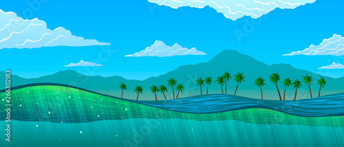 Wall Murals Green coral Water cut with sun rays and bubbles and tropical landscape. Palm trees and mountains on ocean shore.