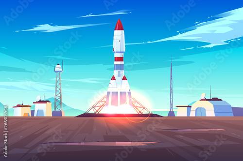 Vászonkép Spaceship start, heavy rocket carrier taking-off, launching satellite or international station on Earth orbit cartoon vector illustration