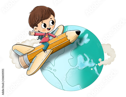 chlopiec-latajacy-nad-olowkiem