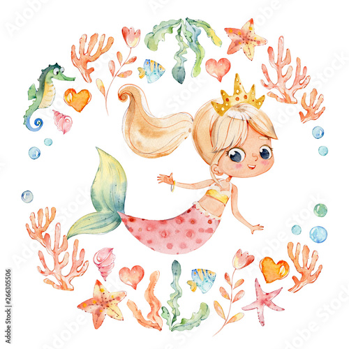 Photographie  Mermaid Watercolor Surrounded by Frame of sea elements, Sea Horse, corals, bubbles, seashells, anchor, seaweeds