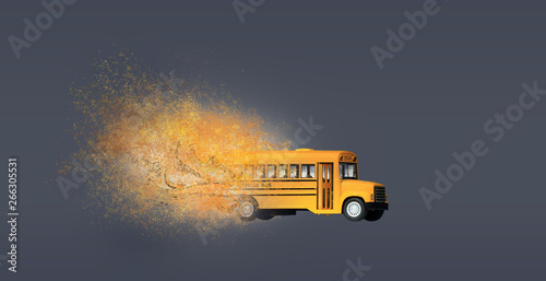 Dispersion effect on yellow school bus toy mode Tablou Canvas