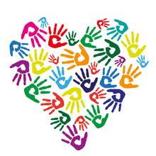 Bunte Handflächen Herz