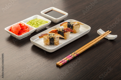 Japanese food, sushi with eel Canvas Print