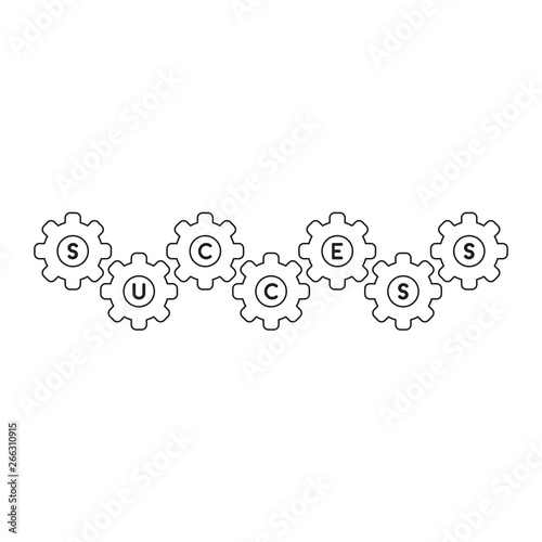 Vector icon concept of success word inside gears  Black