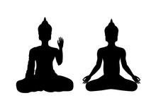 Sitting Buddha Black Silhouett...