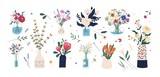 Fototapeta Tulipany - Collection of wild and garden blooming flowers in vases and bottles isolated on white background. Bundle of bouquets. Set of decorative floral design elements. Flat cartoon vector illustration.