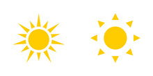 Two Yellow Sun Icons Isolated ...