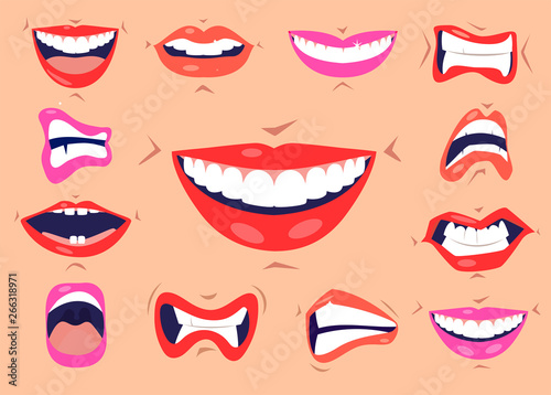 Cartoon cute mouth expressions facial gestures set with pouting lips smiling sticking out tongue isolated vector illustration Canvas-taulu