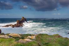 Sea And Rocks: Waves Crash Int...