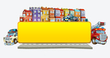 Cartoon Scene With Banner - Title Page With City Facade Cars And Street With Fire Brigade Police Ana Ambulance - Illustration For Children