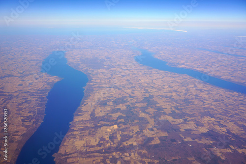 Obraz na plátne Aerial view of the Cayuga Lake and the Seneca Lake in upstate New York