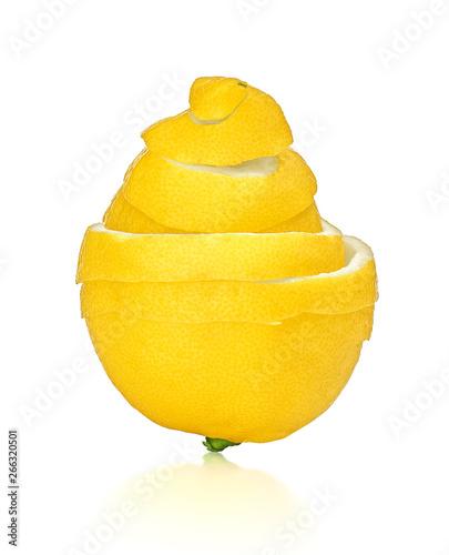 Fotomural Lemon peel cleaning isolated on white background