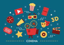 Cinema Concept. Movie, Popcorn And Ticket. Entertainment