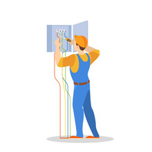 Electricity Work. Professional Worker In The Uniform