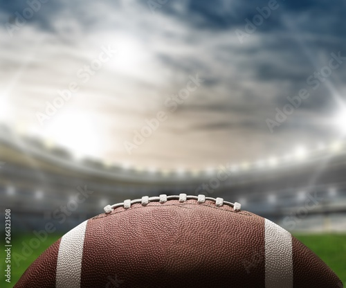 American football ball, close-up view