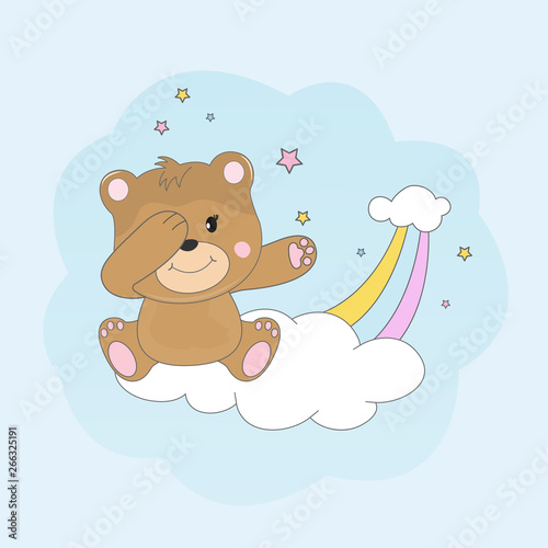 Beautiful dabbing bear sitting on a cloud and dreams of love.