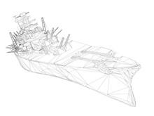 Wireframe Polygonal Warship Wi...