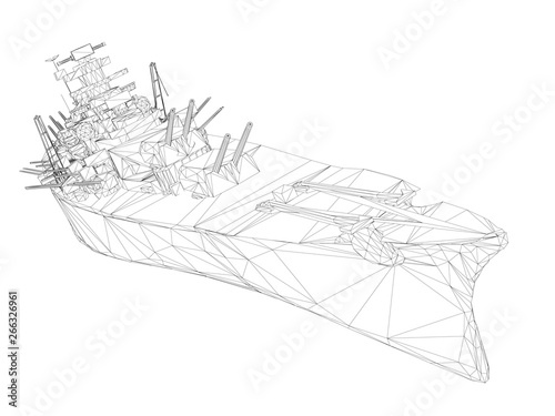 Fotomural Wireframe polygonal warship with guns. 3D. Vector illustration.
