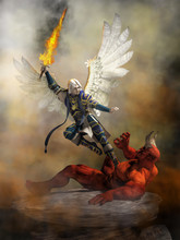 The Archangel Michael Wearing Blue Armed And With White Feather Wings Spread Holds A Flaming Sword As He Flies Into Satan Who Lays Defeated Upon A Rocky Ground Raising A Hand In Defeat. 3D Rendering