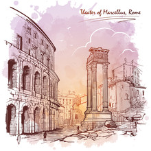 Theater Of Marcellus And Portico Of Octavia In Rome, Italy. Monochrome Linear Drawing Isolated On A Textured Grunge Watercolor Background. Vintage Design. Travel Sketchbook Drawing. EPS10 Vector