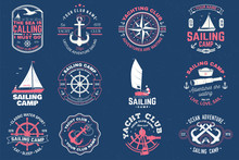 Sailing Camp Badge. Vector. Concept For Shirt, Print, Stamp Or Tee. Vintage Typography Design With Man In Sailboats Silhouette. Sailing On Small Boat. Ocean Adventure. Classic Water Sport