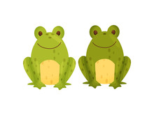 Stylish Salt And Pepper Shaker In The Form Of Frogs. Vector Illustration.