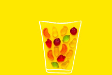 Creative Food Poster Banner Card Template. Hand Drawn Chalk Glass With Fresh Fruits Juice Imitated By Gummy Jelly Candies On Yellow Background. Summer Vitamins Kids Fun Concept. Design Element