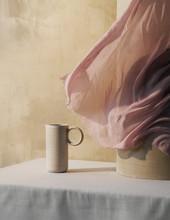 Nordic Stilleben, Ceramics Vase With Windy Curtain