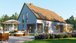 Leinwanddruck Bild - Gebäudeversicherung für Haus mit Garten