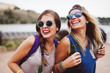 Young happy women having fun time together
