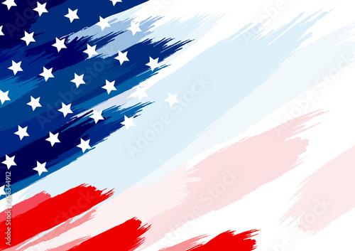 Fototapeta USA or american flag paintbrush on white background vector illustration obraz