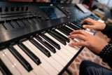 hands playing piano keyboard musician concert jazz blues rock keys studio recording session classical synthesizert artist sesionist finger hand instrument melody rhythm concert show live lesson course
