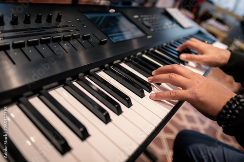 hands playing piano keyboard musician concert jazz blues rock keys studio recording session classical synthesizert artist sesionist finger hand instrument melody rhythm concert show live lesson course - 266347798