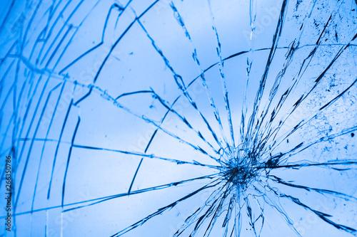 Valokuvatapetti Glasscheibe mit Rissen, Vandalismus