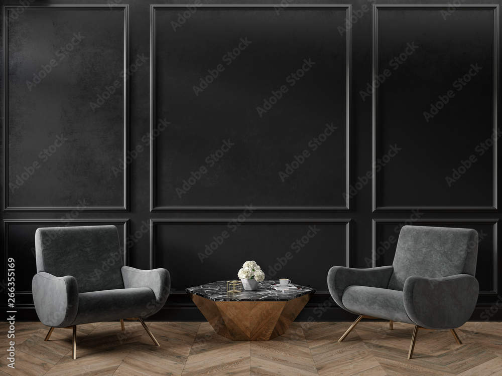 Fototapeta Classic black interior empty room with armchairs coffee table flowers mouldings and wooden floor. 3d render illustration mock up