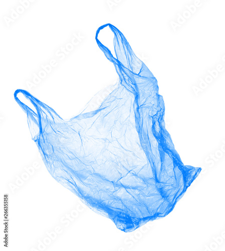 Fotografía  Blue plastic bag on white background. Isolated