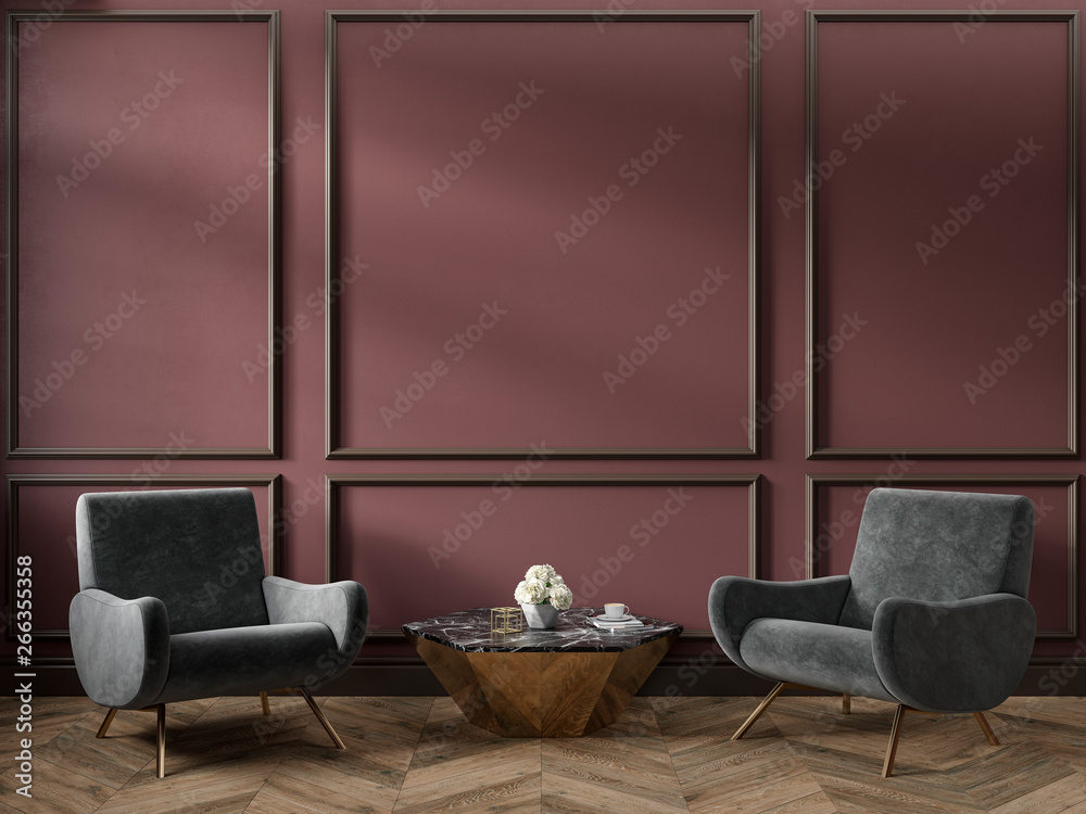Fototapety, obrazy: Classic red marsala color interior empty room with armchairs coffee table flowers mouldings and wooden floor. 3d render illustration mock up.