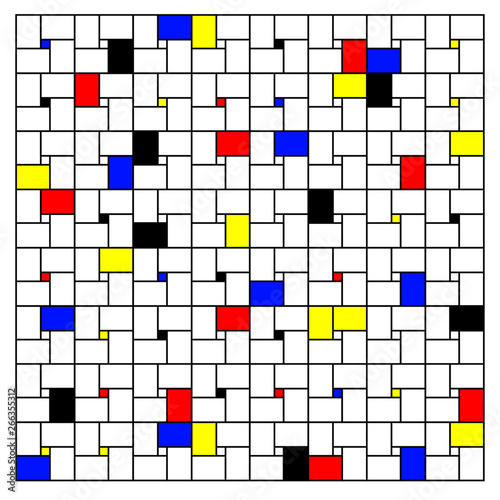 Photo  Neoplasticism imitation pattern (Piet Mondrian) vector background