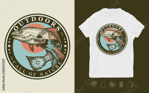 dec2246e8 Outdoors, call of nature slogan. Print for t-shirts and another, trendy  apparel design