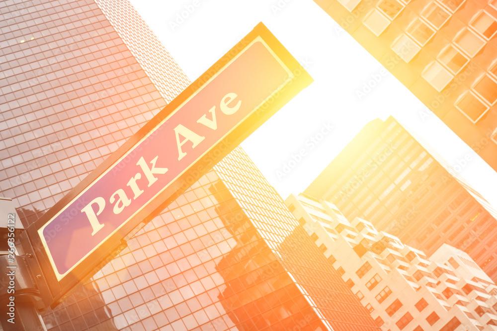 Fototapety, obrazy: NYC street signs. Park Avenue.