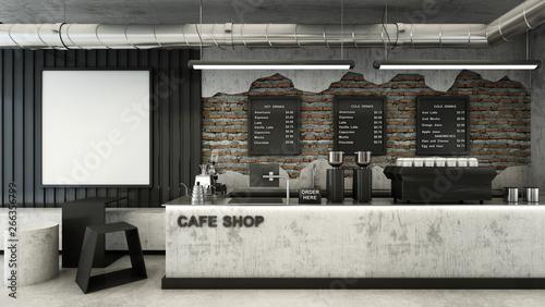 Foto  Cafe shop  Restaurant design Minimalist   Loft,Counter wood slat,Top counter met