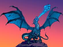 Dragon Fire Breathing Spreading Wings, Illustration