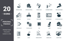 Personal Finance Icons Set Collection. Includes Simple Elements Such As Personal Income, Mortgage Approval, Personal Loan, Retirement Payment, Credit Card Payment, Tax Calculation And Safe
