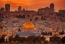 Dome Of The Rock In Jerusalem Old City At Sunrise, Israel.