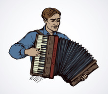 A Man Plays The Accordion. Vector Drawing