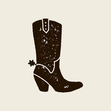 Vector Hand Draw Illustration Of Cowboy Boots In Retro Style. Icon Isolated On White Background. Design Element For Poster, Flyer, Postcard, Web Design, T-shirt Print